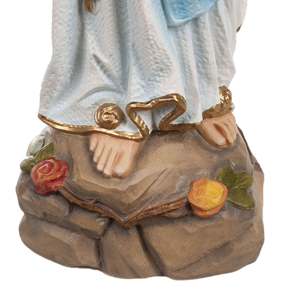 Our Lady of Lourdes statue, 50cm in painted reconstituted marble 4