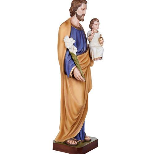Saint Joseph with Baby Jesus statue, 100cm in painted reconstitu 7