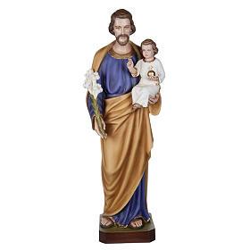 San Giuseppe con Bambino 100 cm marmo sintetico colorato s1