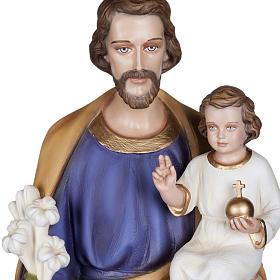 San Giuseppe con Bambino 100 cm marmo sintetico colorato s2