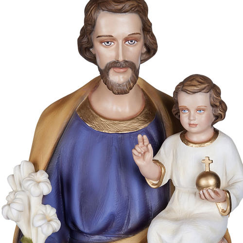 San Giuseppe con Bambino 100 cm marmo sintetico colorato 2