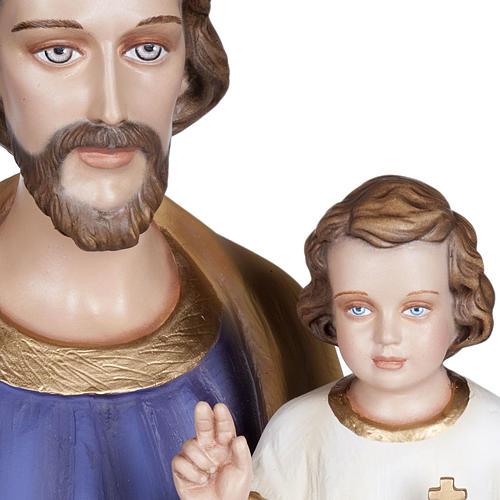 San Giuseppe con Bambino 100 cm marmo sintetico colorato 3