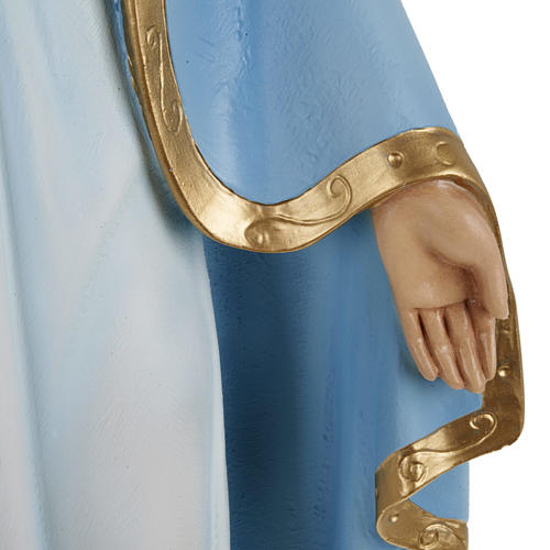 Estatua de la Virgen Milagrosa con capa azul 60 cm polvo de mármol pintado 3