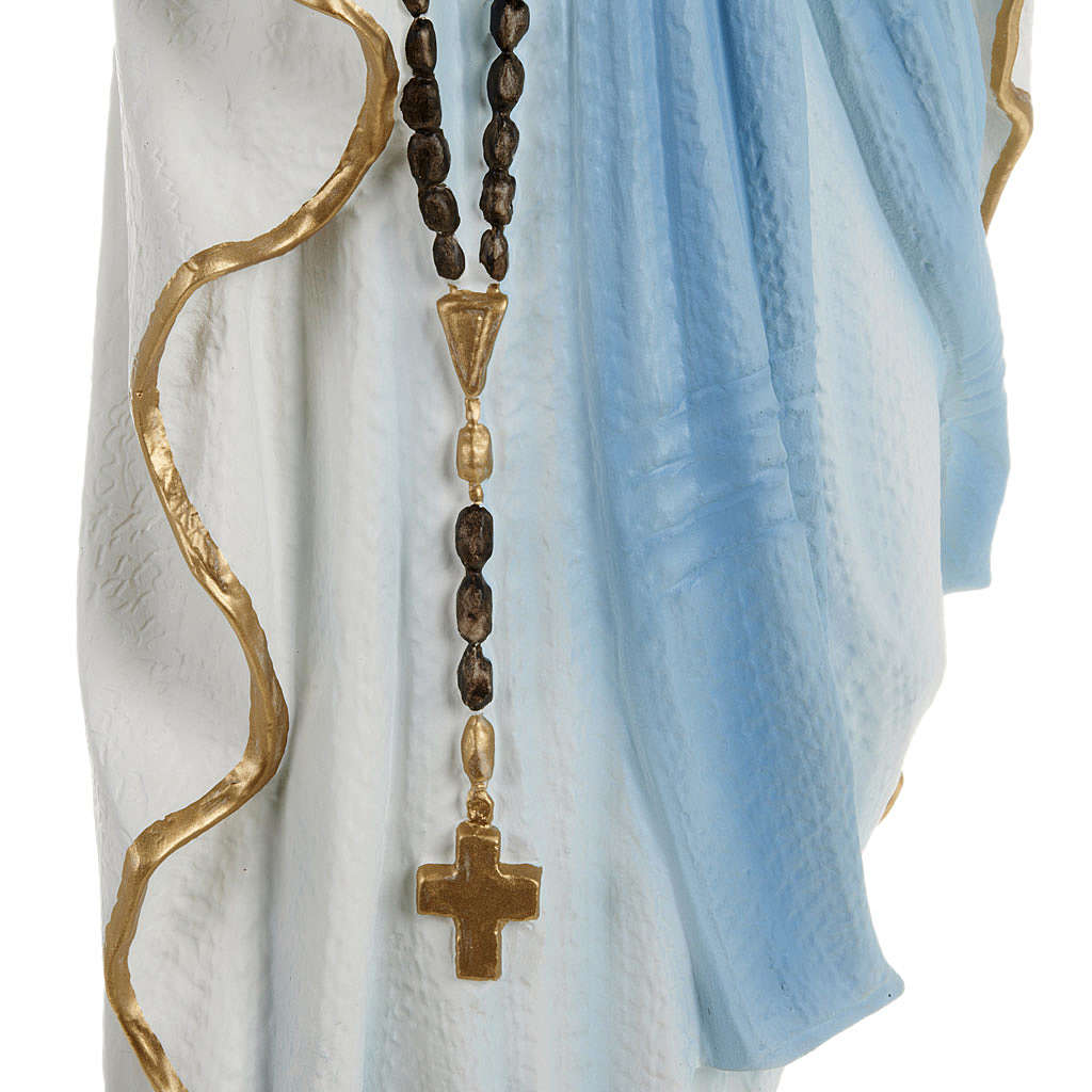 Statua Madonna Lourdes 70 cm polvere di marmo dipinta 4