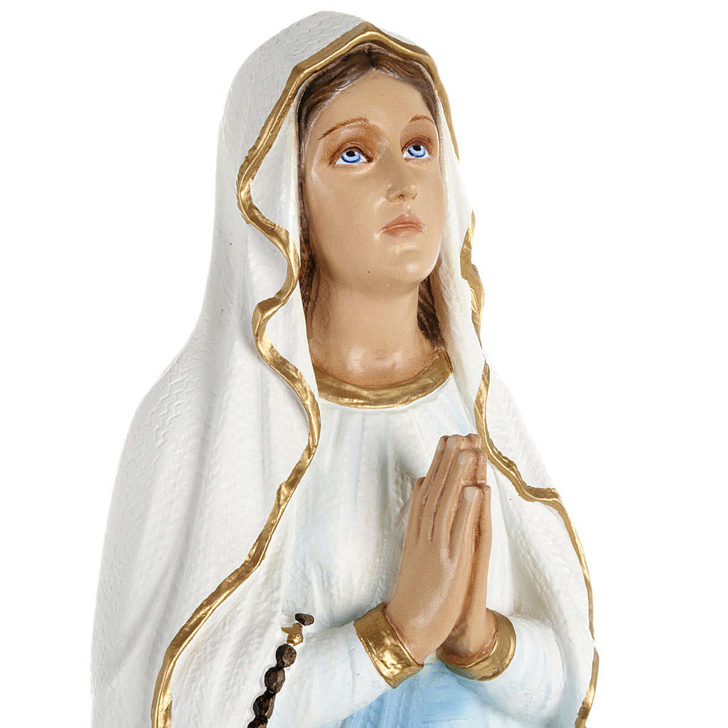 Our Lady of Lourdes statue, 70cm in painted reconstituted marble 4