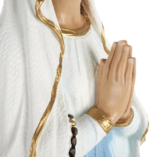 Our Lady of Lourdes statue, 70cm in painted reconstituted marble 7