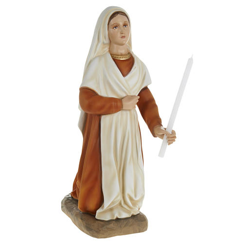 Saint Bernadette statue, 63cm in painted reconstituted marble 1