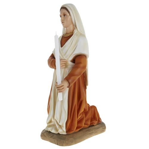 Saint Bernadette statue, 63cm in painted reconstituted marble 3