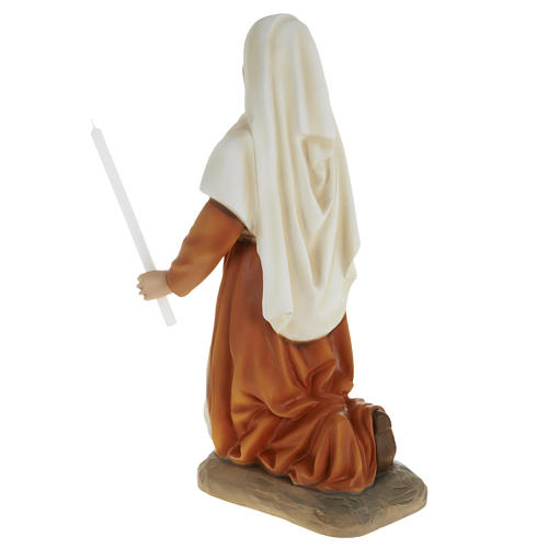 Saint Bernadette statue, 63cm in painted reconstituted marble 5