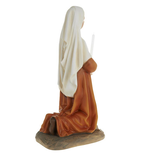 Saint Bernadette statue, 63cm in painted reconstituted marble 6