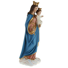 Statua Maria Regina con bambino 80cm marmo ricostituito colorato s7