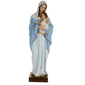 Statua Madonna con bimbo al petto 80 cm polvere di marmo dipinto s1