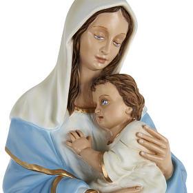 Statua Madonna con bimbo al petto 80 cm polvere di marmo dipinto s2