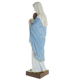 Statua Madonna con bimbo al petto 80 cm polvere di marmo dipinto s5