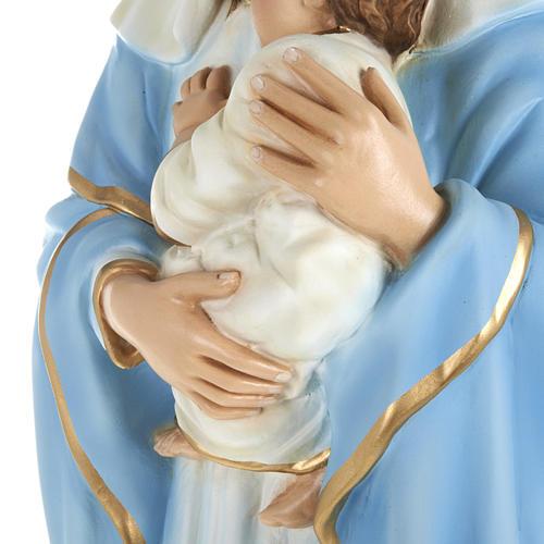 Statua Madonna con bimbo al petto 80 cm polvere di marmo dipinto 3