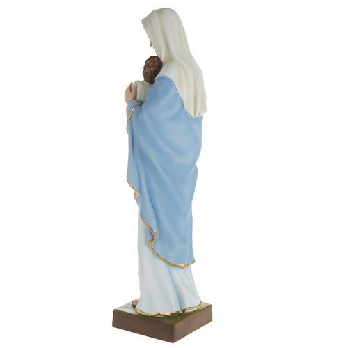 Statua Madonna con bimbo al petto 80 cm polvere di marmo dipinto 5