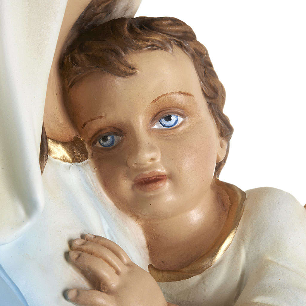Virgin Mary with Baby statue, 80cm in painted reconstituted marb 4
