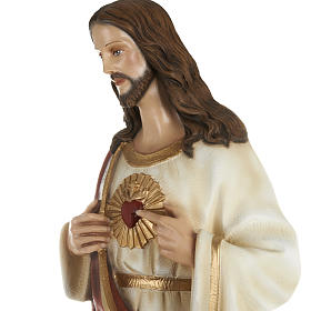 Sacred Heart of Jesus statue, 80cm in painted reconstituted marb s4