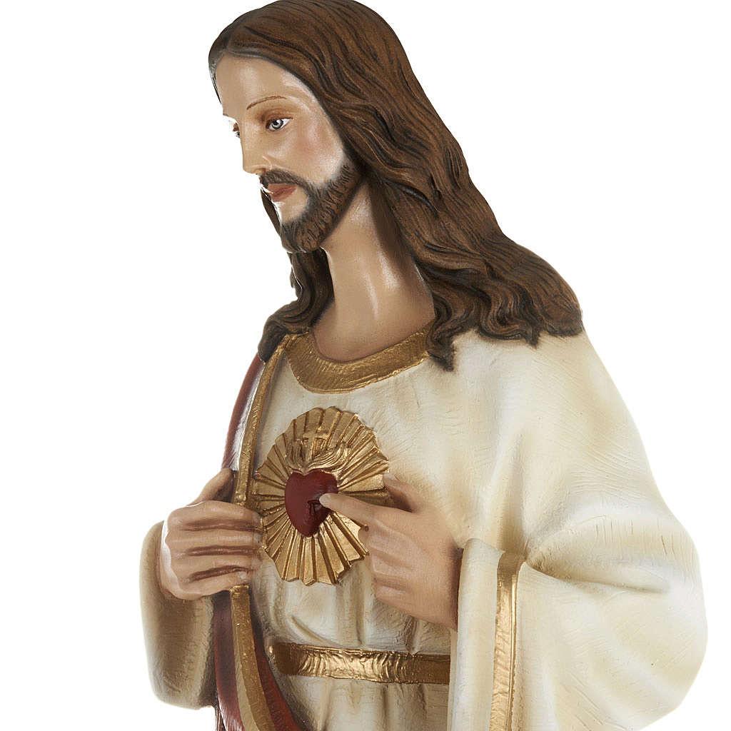 Statua Sacro cuore di Gesù 80 cm polvere di marmo dipinto 4