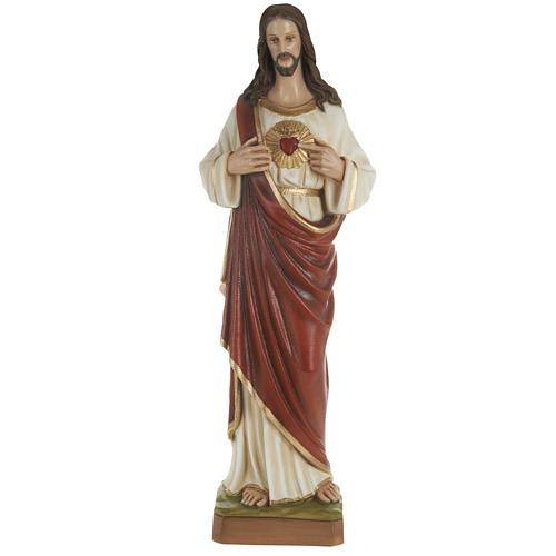 Statua Sacro cuore di Gesù 80 cm polvere di marmo dipinto 1