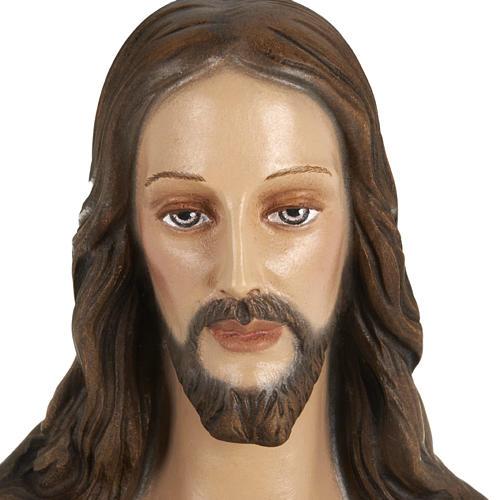 Statua Sacro cuore di Gesù 80 cm polvere di marmo dipinto 6