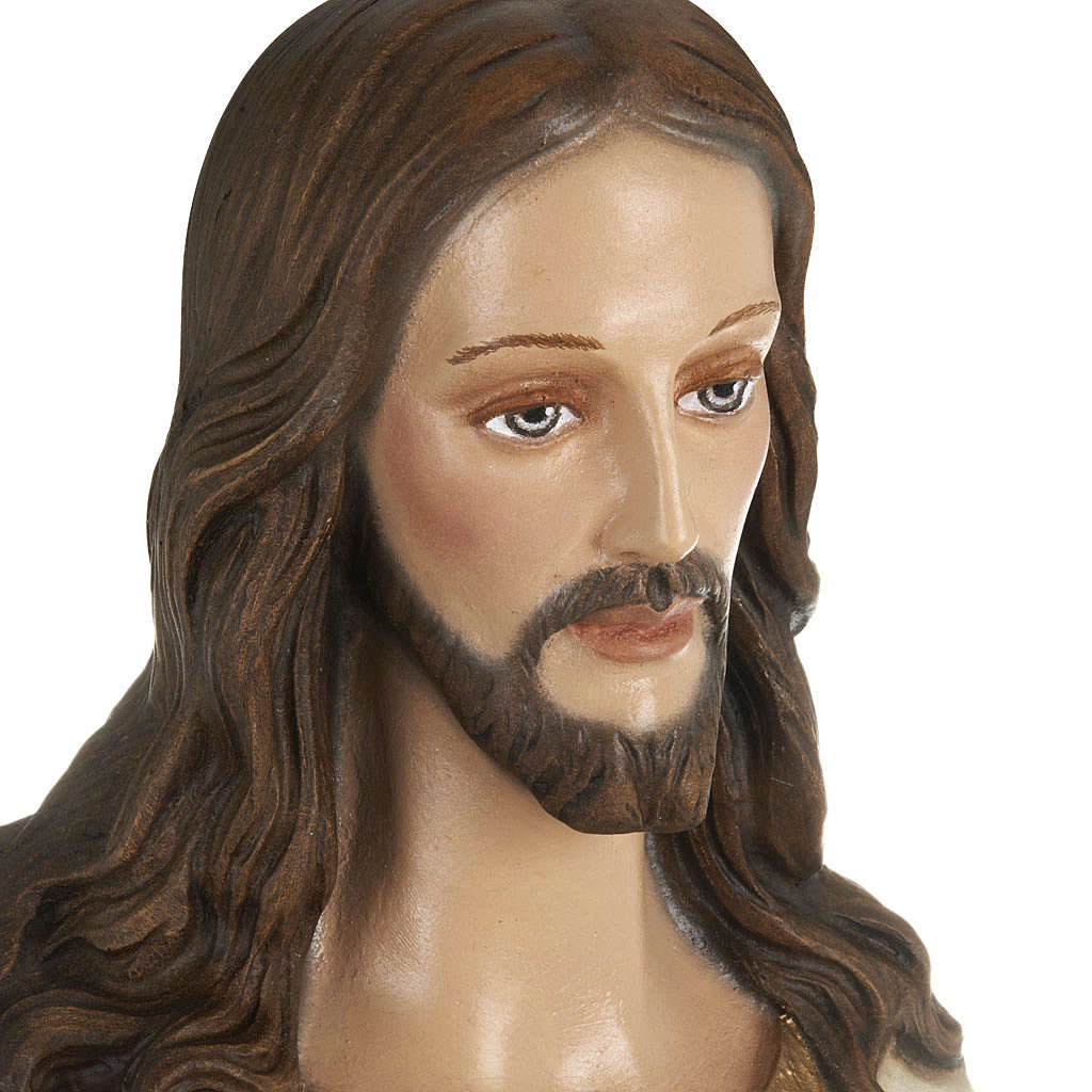 Sacred Heart of Jesus statue, 80cm in painted reconstituted marb 4