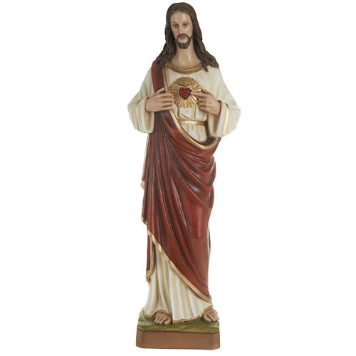 Sacred Heart of Jesus statue, 80cm in painted reconstituted marb 1
