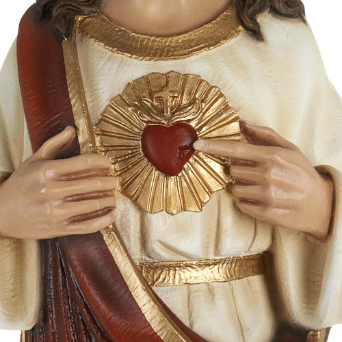 Sacred Heart of Jesus statue, 80cm in painted reconstituted marb 3