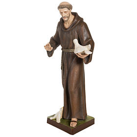 Saint Francis with doves statue, 80cm in painted reconstituted m s7