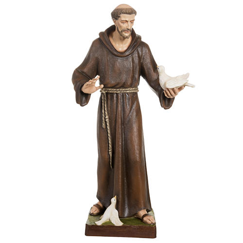 Saint Francis with doves statue, 80cm in painted reconstituted m 1