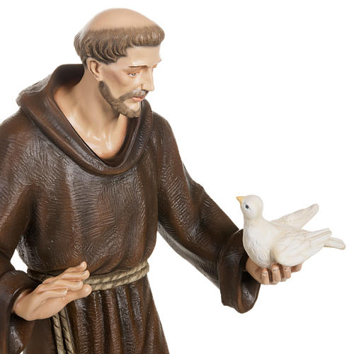 Saint Francis with doves statue, 80cm in painted reconstituted m 5