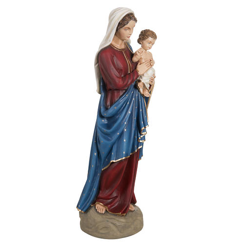 Madonna con bimbo manto blu rosso 85 cm marmo sintetico dipinto 7