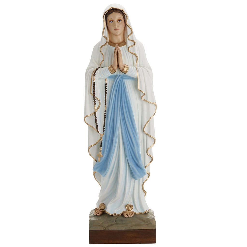 Our Lady of Lourdes statue, 85cm in painted reconstituted marble 4