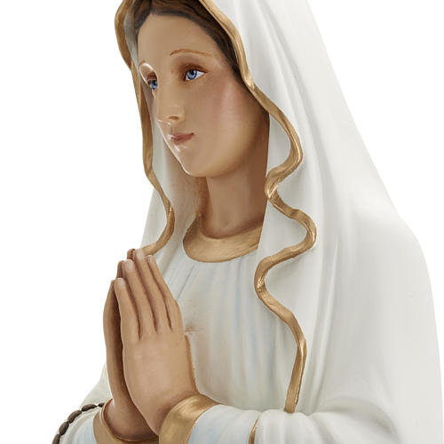Our Lady of Lourdes statue, 85cm in painted reconstituted marble 6