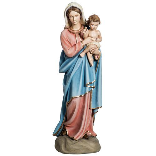 Notre-Dame à l'enfant marbre 60cm peinte 1
