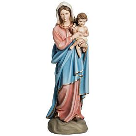 Madonna con Bambino 60 cm marmo sintetico dipinto s1