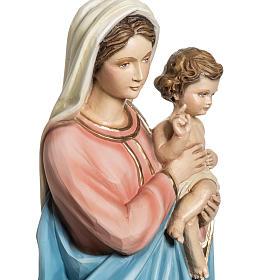 Madonna con Bambino 60 cm marmo sintetico dipinto s3