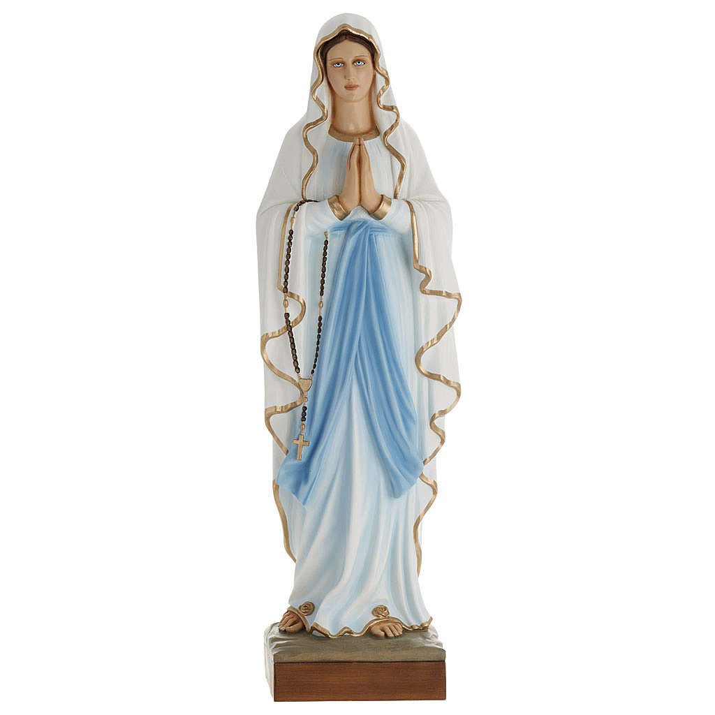 Our Lady of Lourdes, 100cm statue in painted reconstituted marble 4