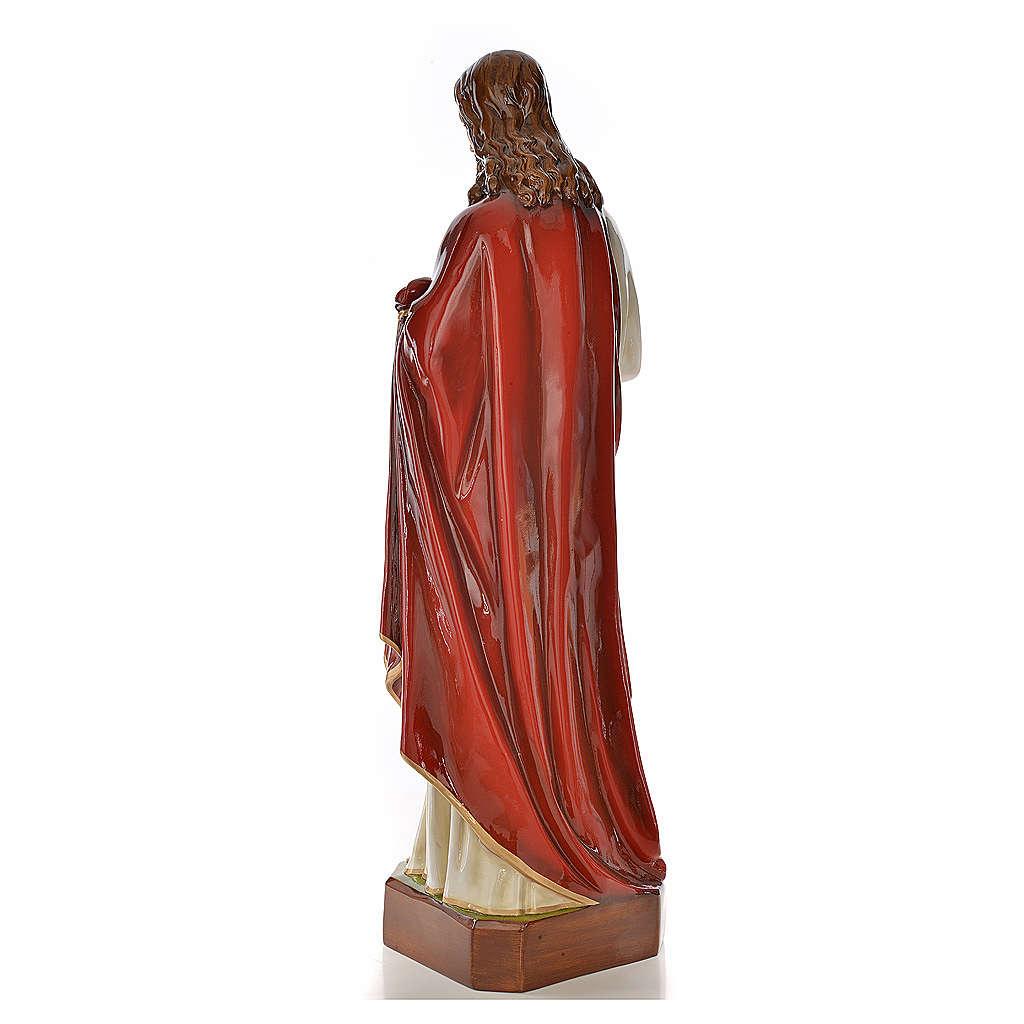 Sagrado Corazón de Jesús de mármol sintético pintado 130 cm 4