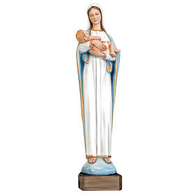 Madonna con Gesù bambino 80 cm marmo sintetico dipinto s1