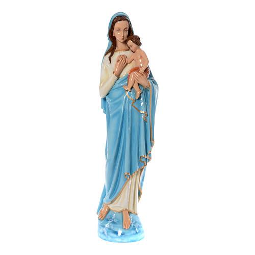 Imagen de la Virgen con el Niño de mármol sintético pintado 120 cm 1