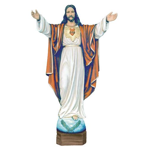 Statue Christ Rédempteur marbre reconstitué 100cm peinte 1