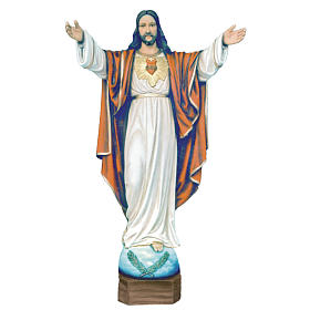 Christ the Redeemer statue 100cm in painted reconstituted marble s1