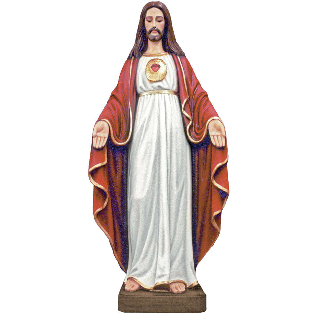 Jesus with opened hands statue 130cm in painted composite marble 4