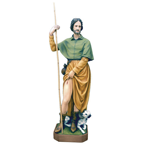 Saint Roch statue 100cm in painted marble dust 1