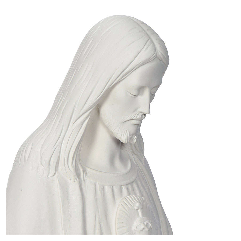 Christ the Redeemer, 130cm with heart, white marble 4