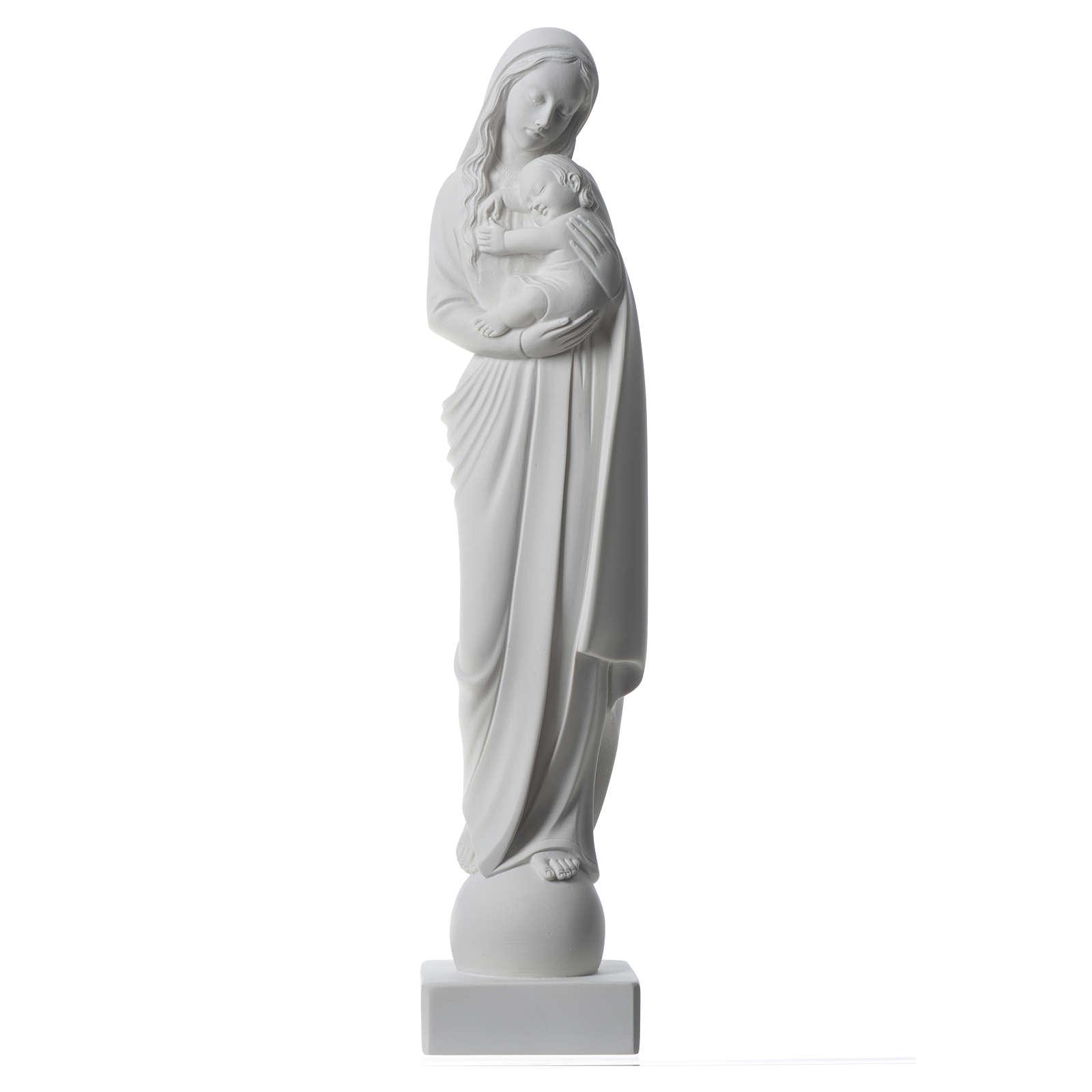 Virgen con Niño 45 cm polvo de mármol de Carrara 4