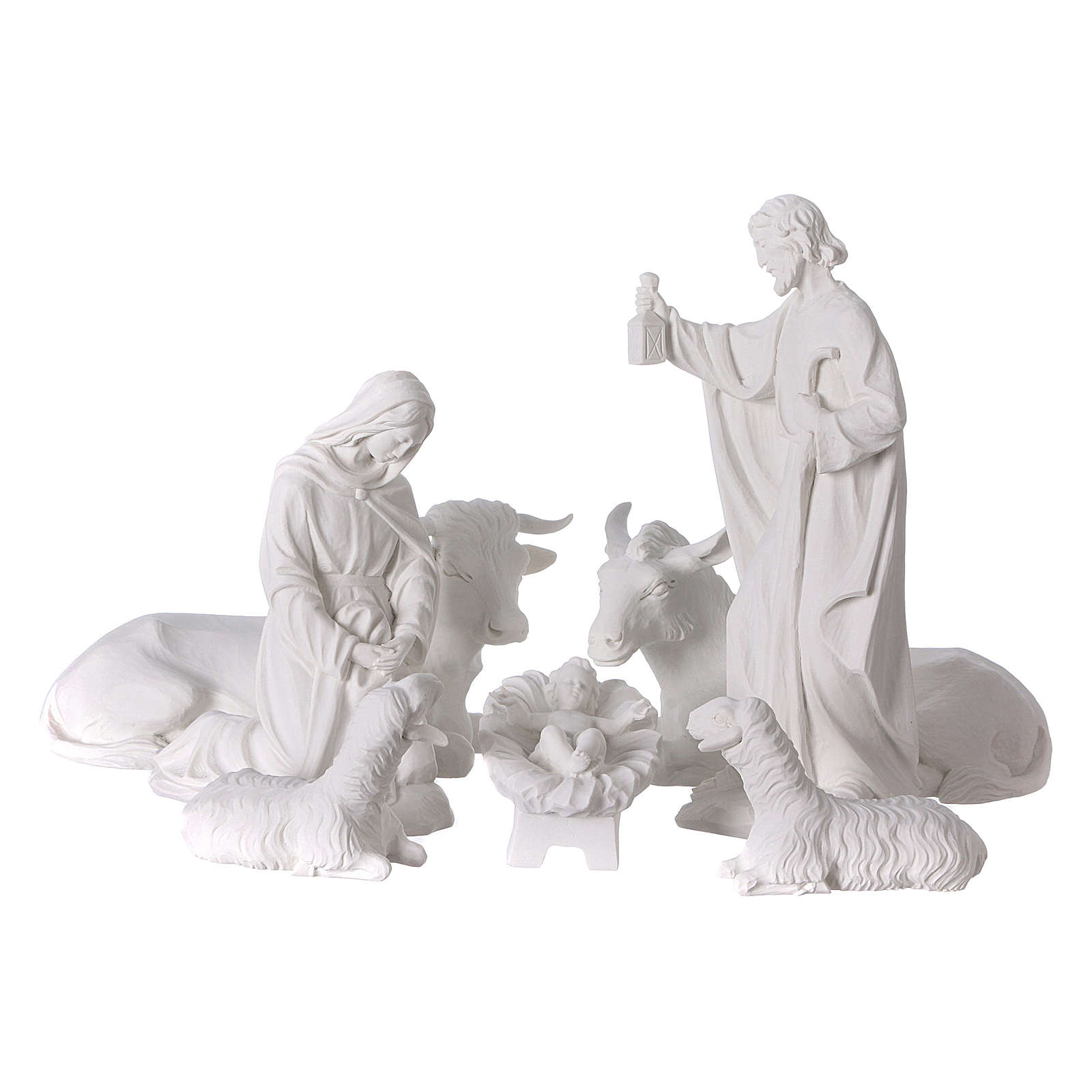 Complete Nativity set of 7 pieces in Carrara marble dust, 30cm 4