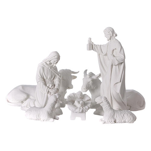 Complete Nativity set of 7 pieces in Carrara marble dust, 30cm 1