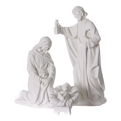 Complete Nativity set of 7 pieces in Carrara marble dust, 30cm 2